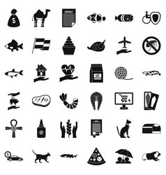 domestic cat icons set simple style vector image