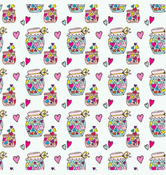 Doodle pattern cans with heart fly out jar vector