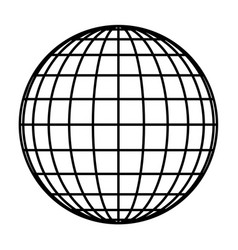 Earth planet globe grid of black thick meridians vector