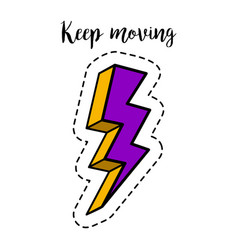 fashion patch element lightning bolt vector image