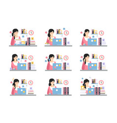 female office worker daily work scenes vector image