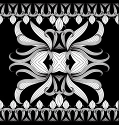 floral black and white seamless border vector image