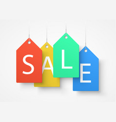 four large colorful tags with the word sale vector image