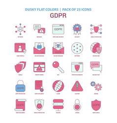 Gdpr icon dusky flat color - vintage 25 icon pack vector