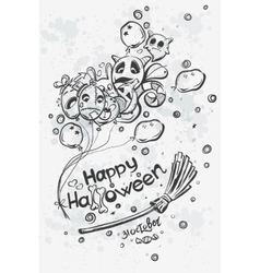Ghost with balls on broomstick - Halloween doodles vector
