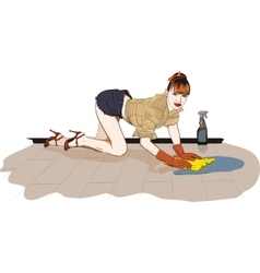 Girl washes the floor vector