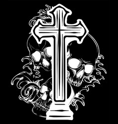gothic coat arms with skull and rosary grunge vector image