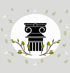 greek ionic columns order vintage design with vector image