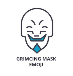 Grimacing mask emoji line icon sign vector