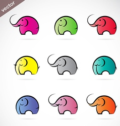 group colorful elephant vector image