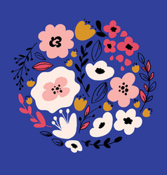 Hand drawn fantasy flowers vector