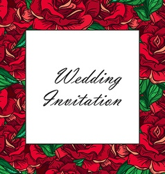 Hand Drawn Wedding Rose Frame vector image