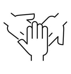 Hands help cooperation icon outline style vector