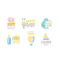 Happy bastore logo design collection children vector