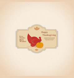happy thanksgiving banner with cute cartoon vector image
