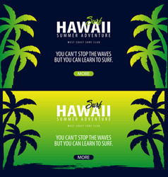 hawaii surfing graphic with palms surf club vector image