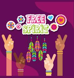 Hippie multi ethnic hands peace love feathers vector