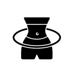 Hula hoop workout black glyph icon vector