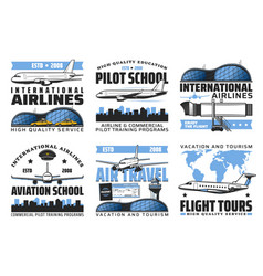 International airlines air travel flight tours vector
