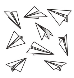 Isolated various paper planes black outline flying vector