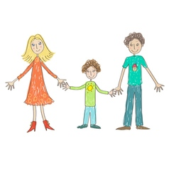 Kids Drawing Family vector