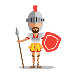 Knight wearing armor holding a shield and a sword vector