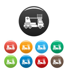 lift truck icons set color vector image