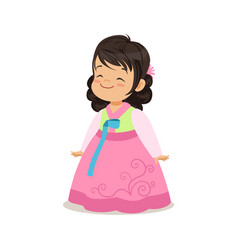 Little girl wearing pink dress national costume vector