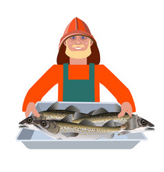Man with fish container vector