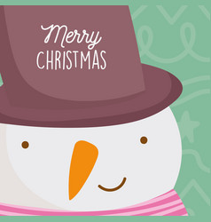 merry christmas celebration cute snowman face with vector image