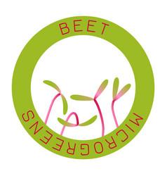 Microgreens beet seed packaging design round vector