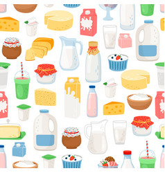 Milk and diary products pattern vector