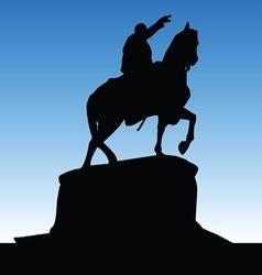 Monument of Knez Mihailo black silhouette vector image