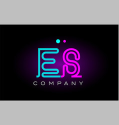 Neon lights alphabet es e s letter logo icon vector