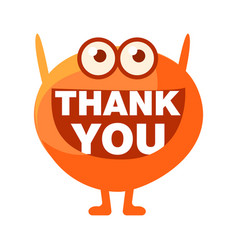 Orange blob saying thank you cute emoji character vector