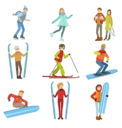 People And Winter Sports Set vector