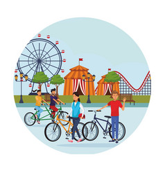 people in the amusement park vector image