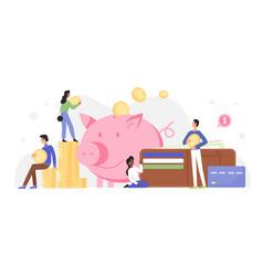 People invest money in piggy bank vector