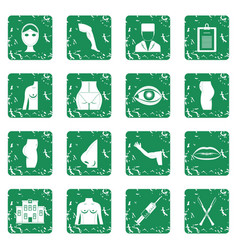 Plastic surgeon icons set grunge vector