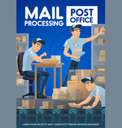 Postmen sorting mail and parcels post office vector