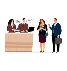 reception in hotel people doing check in vector image