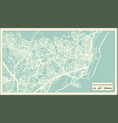 Santa cruz de tenerife spain city map in retro vector