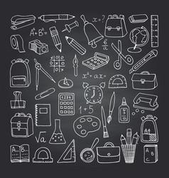School icons on blackboard vector