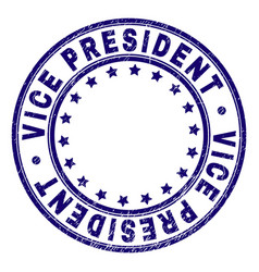 Scratched textured vice president round stamp seal vector