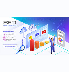 Seo analytics team landing page businessman vector