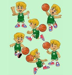 Set cartoon white boy basketball player vector