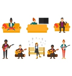 set of musicians and people gaming vector image
