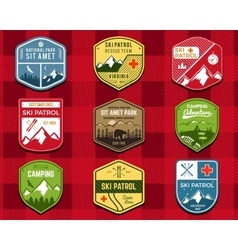 Set of Ski Club Patrol Labels Retro Mountain vector