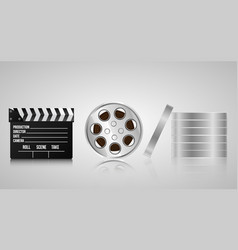 set realistic 3d objects for cinematography vector image