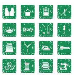 Sewing icons set grunge vector